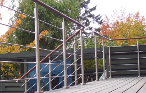 Terrassegelænder i rustfrit stål